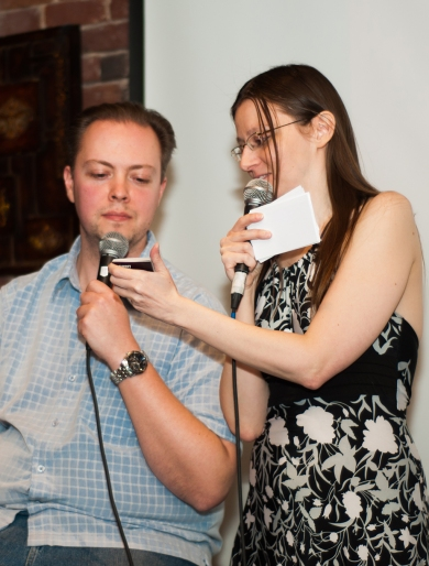 Comedian Jason Hatrick and host Isabelle Stephen