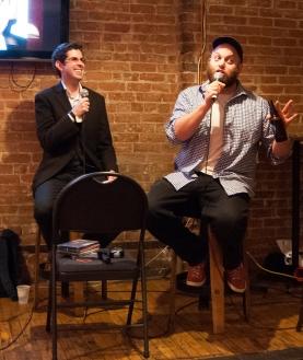 Host Jonathan Jarry and comedian Daniel Carin